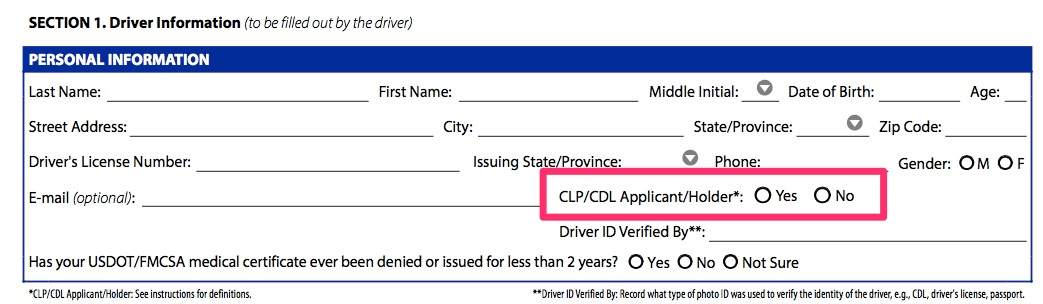 Confused Regarding Intrastate And Cdl YesNo Checkboxes